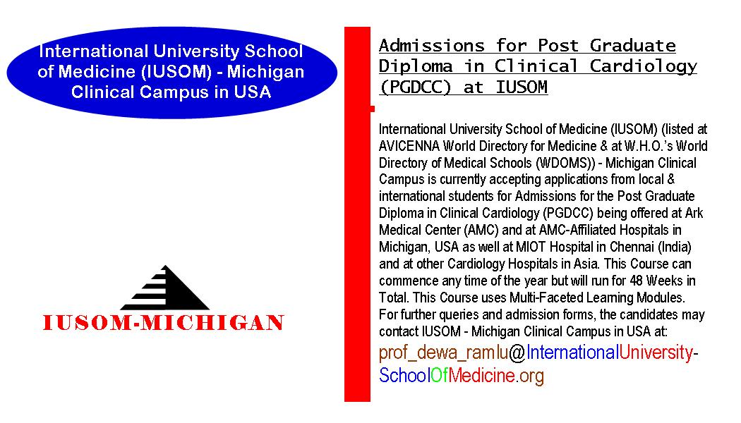 Admissions for Post Graduate Diploma in Clinical Cardiology