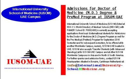 Admissions for Doctor of Medicine (M.D.) Degree and Pre-Medical (PreMed) Program at IUSOM-UAE Campus