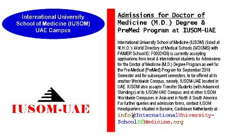 Admissions for Doctor of Medicine (M.D.) Degree & Pre-Medical (PreMed) Program at IUSOM-UAE Campus