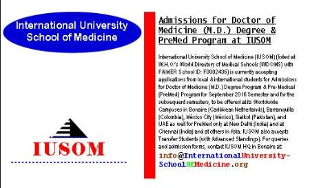 Admissions for Doctor of Medicine (M.D.) Degree and Pre-Medical (PreMed) Program at IUSOM Worldwide Campuses