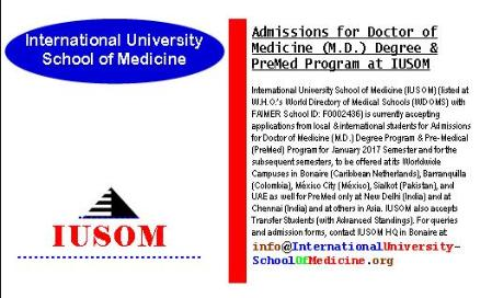 Admissions for Doctor of Medicine (M.D.) Degree and Pre-Medical (PreMed Program at IUSOM Worldwide Campuses)