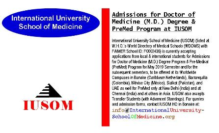 Admissions for Doctor of Medicine (M.D.) Degree & Pre-Medical (PreMed) at IUSOM Worldwide Campuses