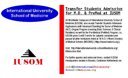 Transfer Students Admissions for Doctor of Medicine (M.D.) Degree & Pre-Medical (PreMed) Program at IUSOM Worldwide Campuses