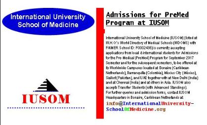 Admissions for Pre-Medical (PreMed) Program at IUSOM Worldwide Campuses