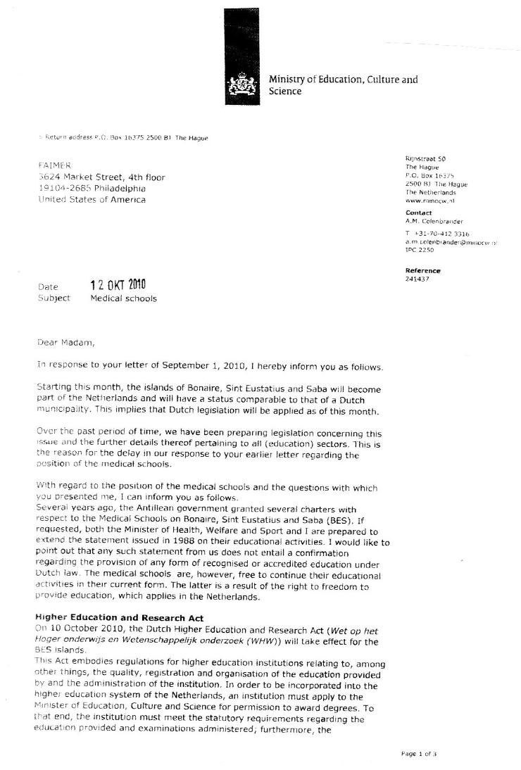 International university school of medicine iusom medical letter from min ocw written to ecfmg faimerge1 1betcityfo Images